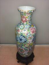 Antique Chinese Porcelain Vase Flowers Qianlong Mark 19th C Square