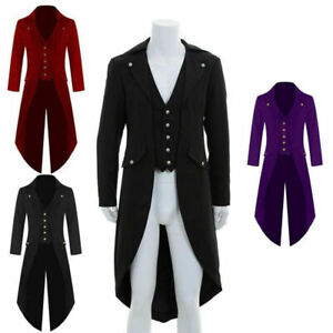Men Retro Victorian Steampunk Swalow Gothic Tailcoat Jacket Ringmaster Tail Coat