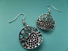 NEW! Art Love Heart Disc -Tibetan Silver Earrings - In Organza bag - Retro.