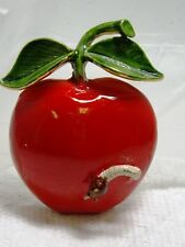 Vintage Signed Original by Robert Enamel FRUIT APPLE INSECT WORM Pin Brooch