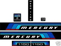MERCURY MARINE 115 hp V6 DECALS, MERC BLACK MAX 1150