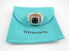 Tiffany & Co RARE Vintage Silver 18K Gold Rope Onyx Ring Size 6!!