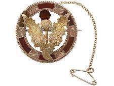 """Scottish HARDSTONE & 9 carati oro giallo, 9 Carati Oro Rosa """"CARDO"""" SPILLA-ANTIQUARIATO"""