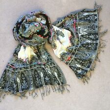 Stunning Black/Cream + Brights Chunky Stitch Scarf/shawl 210 x 68cm RP £60