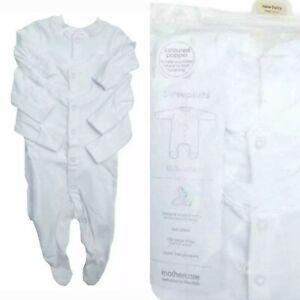 3 X MOTHERCARE WHITE  UNISEX COTTON  SLEEPSUITS  BABYGROWS TINY BABY TO 18-24