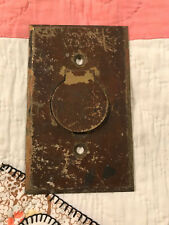 1 Early 1900's Solid Unpolished Brass Outlet Cover Plate w/Lid, Free S/H
