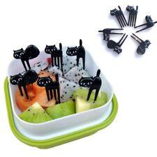 6Pcs Mini Animal Fork Fruit Picks Cute Cartoon Cat Child Fork Bento Lunch Box
