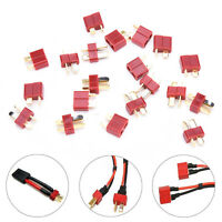 20Pcs 10 Pairs T Plug Male & Female Connectors Deans Style For RC LiPo Battery F