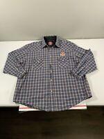 Men's West Coast Choppers Long Sleeve Snap Button Shirt Size XL Plaid *Altered*