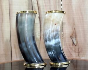 """Set of 2 Ale beer viking drinking horn cups 6"""" for boyfriend with free shipping"""