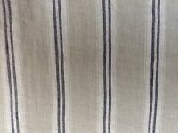 French Vintage Linen Stripe Navy Blue Grey Curtain/Craft / upholstery Fabric
