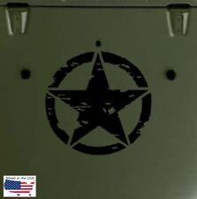 Distress MILITARY STAR Hood Door Truck Vinyl Decal 3 sizes (Fits Jeep Wrangler)