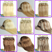 "100% Clip in Real Human Hair Extensions 16""18""20""22"" 6 Colors 70g 80g"