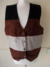 Women's Vintage Brown Black Beige Suede Waistcoat Vest by Rare Clothing Co L