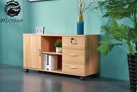Office Storage Cabinet Lockable Drawer Quality Wood Organiser 123*40*57CM