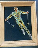 Vintage Colorful Skier Framed String Art on Black Velvet