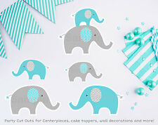 Teal Chevron Elephant Party Cutouts Decorations Printable