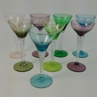 8 Vintage Twisted Stem Cocktail Glasses Multi Color Martini Cordial Wine Liquor