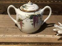 "Asian Porcelain Lidded Sugar Bowl Wisteria & Bamboo Design 5""x3 3/4"""