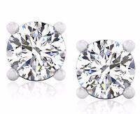 2.00 Ct Genuine Diamond Earrings Studs Solid 18K White Gold Stud