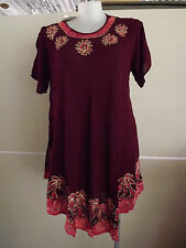 CUTE Embroidered Wine Colour Summer Dress ..... Size 24,26,28,30    #O1016
