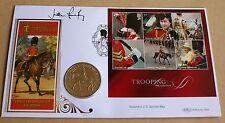 Trasporto truppe via il colore 2005 BENHAM FDC + Vergine Isl. $1 MONETA firmato col. Bourne-MAGGIO