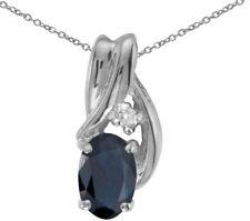 14k White Gold Oval Sapphire and Diamond Pendant (no chain) (CM-P1861XW-09)