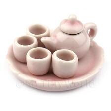 Maison de poupées miniature fait main rose céramique Service à thé