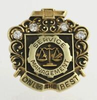 Chevrolet Service Management Badge - 10k Yellow Gold Diamonds Genuine .10ctw