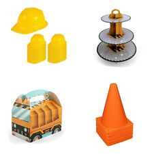 Construction Birthday Party Supplies Work Zone Treat Boxes Cake Stand Hats Set