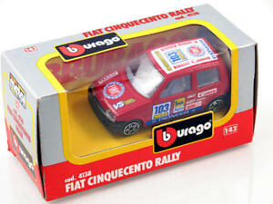 B Burago 4138 Fiat 500 Rally 1/43 Die-Cast Made IN Italy Modélisme Static