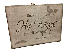 Under His Wings Inspirational Christian Plaque 8x6 inches
