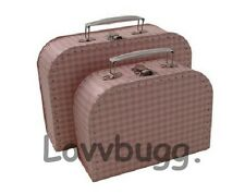 "Lovvbugg L Pink Gingham Trunk Suitcase for 18"" American Girl Doll Accessories"