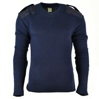 Original Italian pullover V-Neck Commando Jumper Dark blue sweater Wool