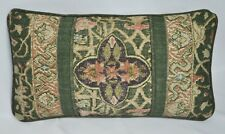 Pillow made w Ralph Lauren Rutherford Park Green Tapestry Fabric trim Self Cord
