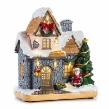 Light Up Tiny Christmas Village Decoration House Resin Building Winter Snow Town