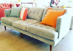 West Elm Blue Suede Mid Century Modern couch sofa sectional custom upholstry