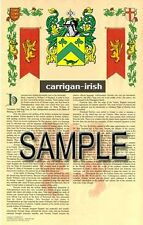 CARRIGAN Armorial Name History - Coat of Arms - Family Crest GIFT! 11x17
