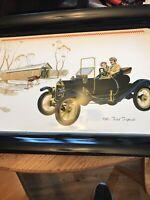 Set of 2 Vintage Metal Serving Trays 1910 Ford Torpedo - Lap TV Tray Tin