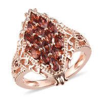 Rose Gold Over 925 Sterling Silver Garnet Cluster Ring Jewelry Size 7 Ct 1.4