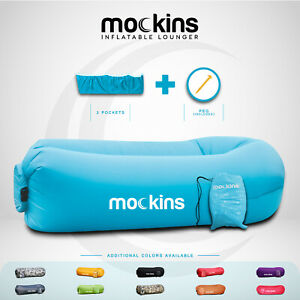 Mockins Inflatable Blow Up Lounger Outdoor Chair Bed Travel, With Bag & Pockets