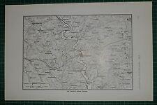 1916 WWI WW1 PRINT ~ COUNTRY ROUND VERDUN MAP ~ RAILWAYS FORTS & BATTERIES