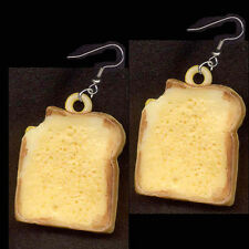 SANDWICH EARRINGS-Vintage Toast Cheese Food Charm Funky Jewelry