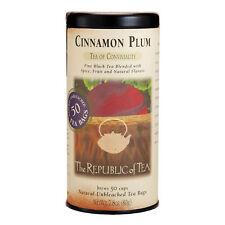 The Republic Of Tea Cinnamon Plum Black Tea, 50 Tea Bags, Spiced Black Tea, Gour