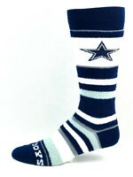 Dallas Cowboys For Bare Feet Women and Youth Soft Stripe Crew-Length Socks