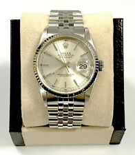 Rolex Datejust 16234 Silver Dial 18K White Gold Fluted Bezel Stainless Steel