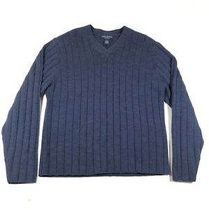 Daniel Cremieux Pullover Sweater Jumper Mens L Blue Wool Deep Ribbed V Neck