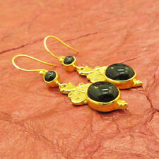 925 Sterling Silver Handmade Gold Plated Black Onyx Dangle Earrings For GIFT