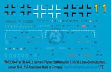 Peddinghaus 1/72 Fw 190 A-8 Markings Gerhard Thyben 7./JG 54 Latvia 1945 3044