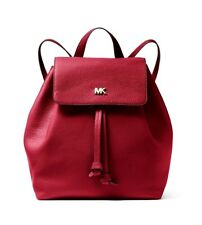 Michael Kors Backpack Bag Junie Md Flap Backpack Leather Maroon New